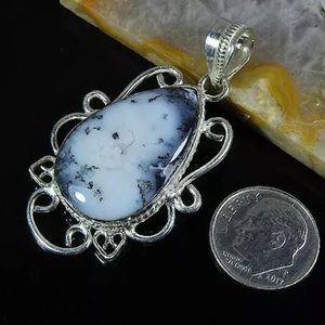 "Natural Dendrite Opal Set in 2""Silver Pendant"